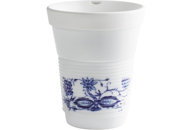 Kahla cupit Becher 0,35 l + Trinkdeckel 10x2 cm MG porcelain white+Zwiebelmuster
