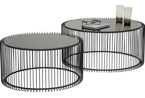 Kare Design Couchtisch Wire Black (2/Set)