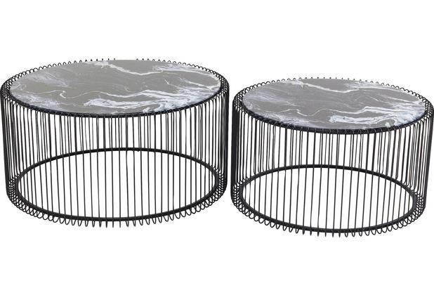 Kare Design Couchtisch Wire Glas Marble Schwarz (2/Set)