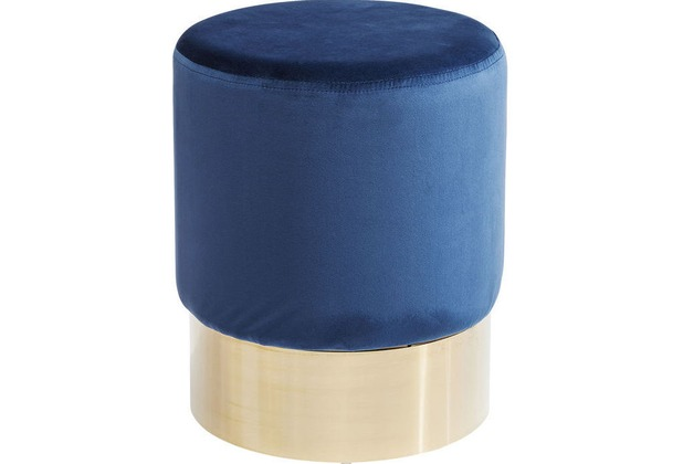 Kare Design Hocker Cherry Blau Brass Ø35cm