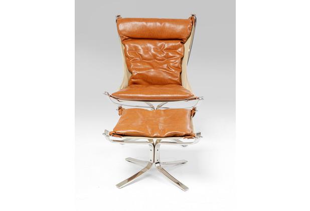 Kare Design Sessel + Hocker Washington Braun