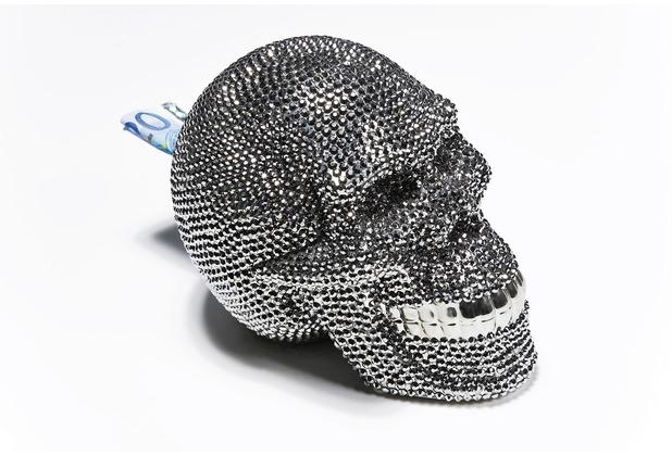Kare Design Spardose Skull Crystal Silver