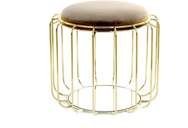 Kayoom Beistelltisch / Pouf Comfortable 110 Graubraun / Gold