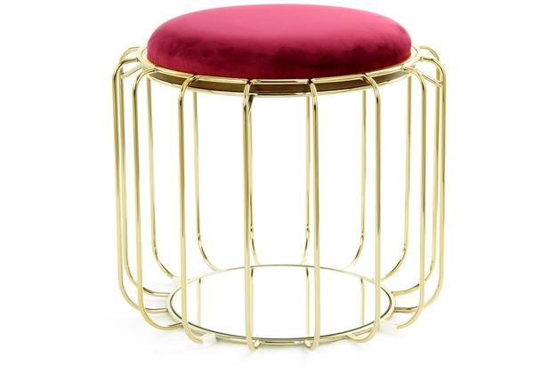 Kayoom Beistelltisch / Pouf Comfortable 110 Rot / Gold