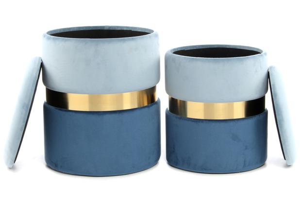 Kayoom Hocker Zora 125 2-er Set Hellblau / Blau