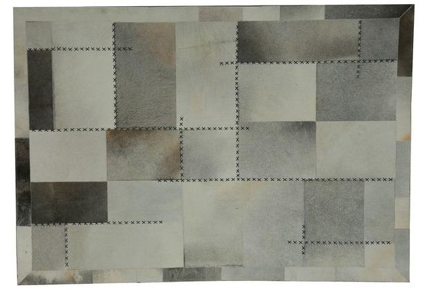 Kayoom Lederteppich Mystic 110 Grau / Multi 120 x 170 cm