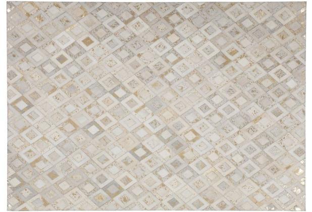 Kayoom Lederteppich Spark 110 Elfenbein / Gold 120 x 170 cm