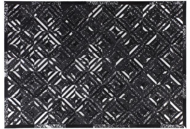 Kayoom Lederteppich Spark 410 Schwarz / Silber 120 x 170 cm