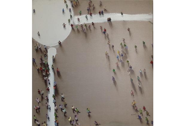 Kayoom Öl-Wandbild Menschengruppe 100cm x 100cm