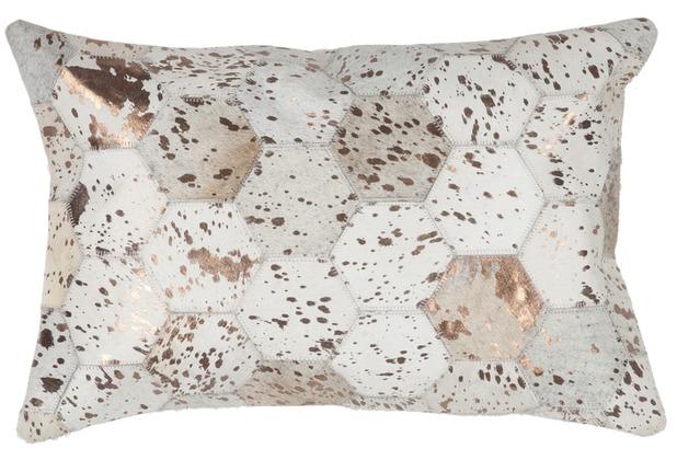 Kayoom Lederkissen Spark Pillow 210 Elfenbein / Chrom 40 x 60 cm