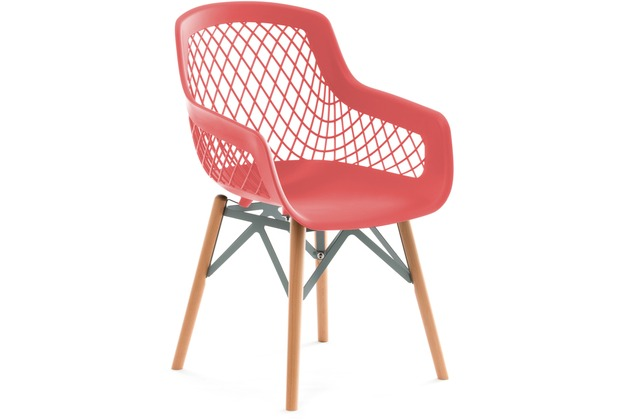 Kayoom Stuhl Pure Style 4er-Set Rot