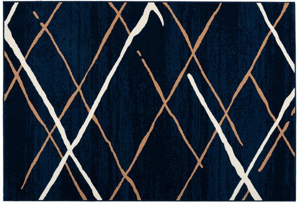 Kayoom Teppich Vancouver 110 Blau / Beige / Weiß 120 x 170 cm