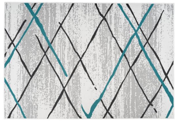 Kayoom Teppich Vancouver 110 Weiß / Grau / Türkis 120 x 170 cm