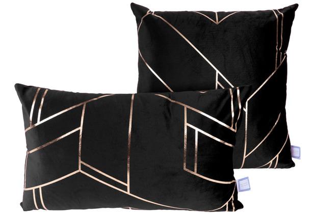 Kenda Sand Dekokissen Prisma 125 2er-Set Schwarz / Gold