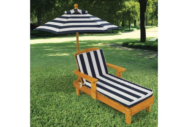 Kidkraft Kinderliegestuhl mit Sonnenschirm Marineblau