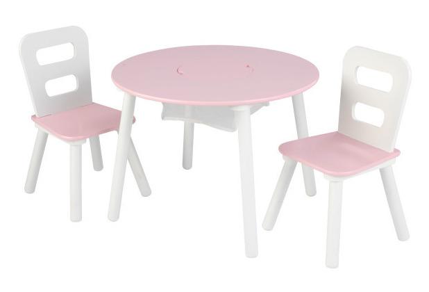 Kidkraft Runder Aufbewahrungstisch Mit Zwei Stühlen Weiß