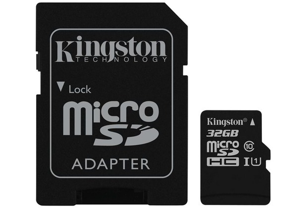 Kingston microSDHC Class 10 UHS-I Card + SD Adapter, 32GB