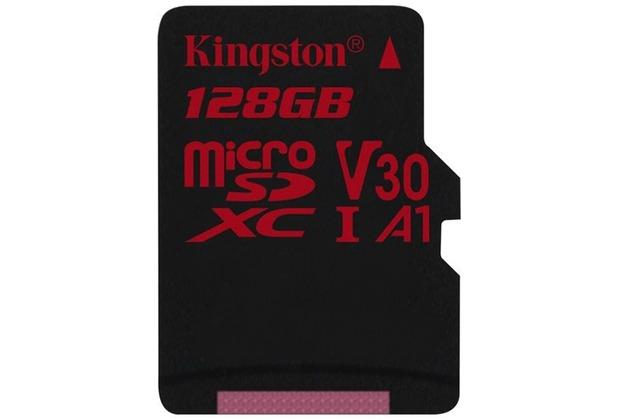 Kingston microSDXC 100R/80W U3 UHS-I V30 A1 Single Pack, 128GB