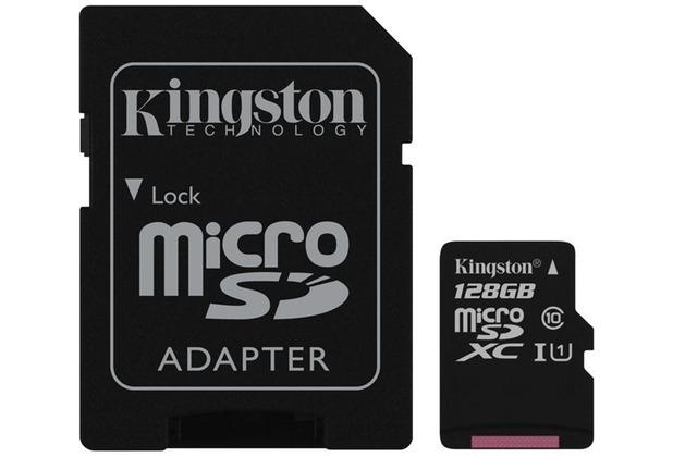 Kingston microSDXC Class 10 UHS-I Card + SD Adapter, 128GB