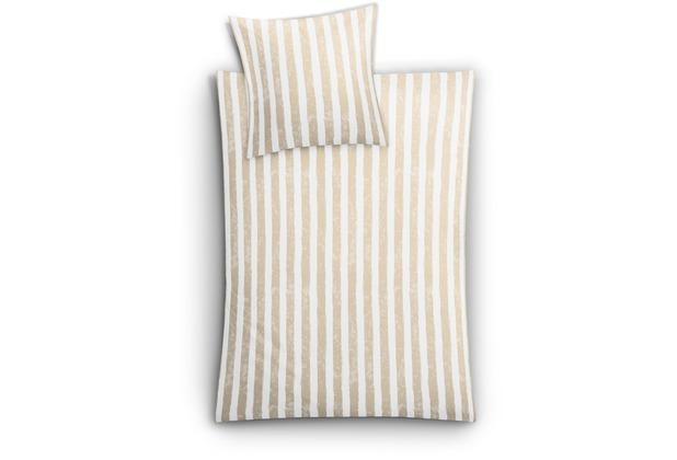 Kleine Wolke Bettwäsche Stripe Sandbeige 135 cm x 200 cm & 80 cm x 80 cm