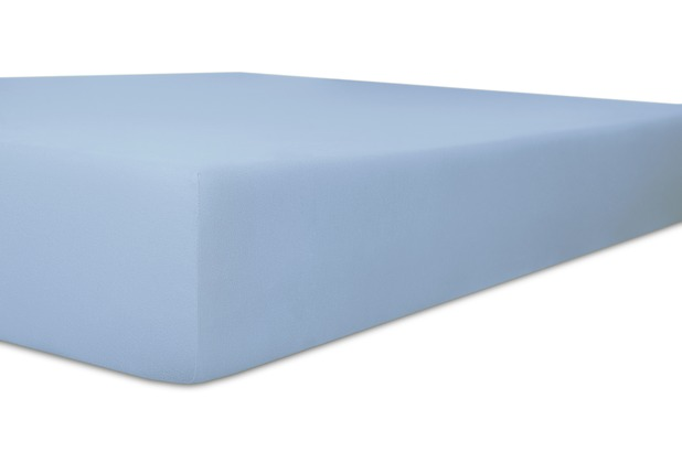 """Kneer Spannbettlaken Fein-Jersey \""""Qualität 50\"""" Farbe 38 eisblau Stretch-Betttuch 120-130 cm x 200 cm"""