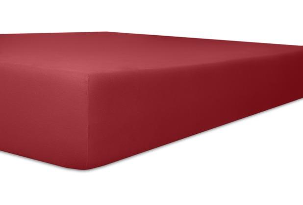 """Kneer Spannbettlaken Fein-Jersey \""""Qualität 50\"""" Farbe 48 karmin Stretch-Betttuch 90-100 cm x 210-220 cm"""