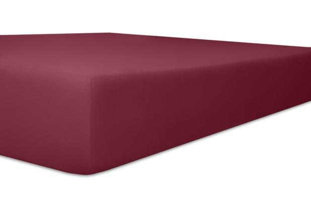 """Kneer Spannbettlaken Fein-Jersey \""""Qualität 50\"""" Farbe 49 burgund Stretch-Betttuch 120-130 cm x 200 cm"""