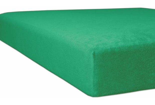 "Kneer Spannbettlaken Flausch-Frottee \""Qualität 10\"" Farbe 60 smaragd 140 - 160 cm x 220 cm"