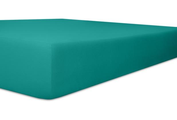 "Kneer Single-Jersey \""Qualität 60\"" Farbe 28 petrol Spannbetttuch 140/200 - 160/200 cm"
