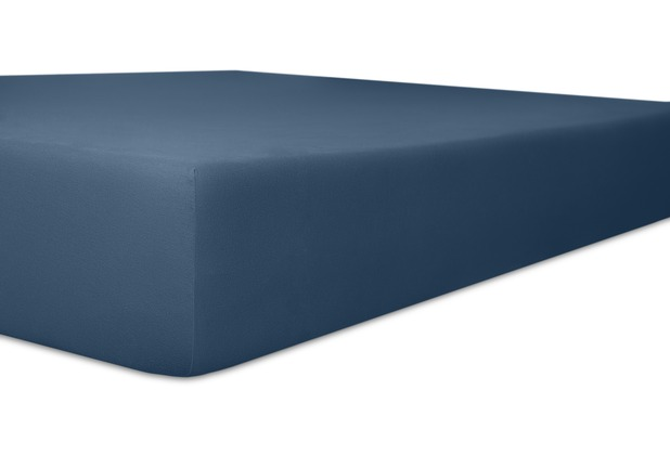 "Kneer Single-Jersey \""Qualität 60\"" Farbe 32 marine Betttuch 90/210/15 - 100/220/15 cm"