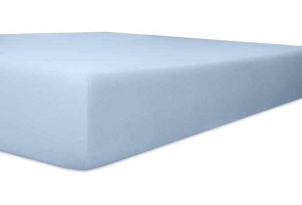 """Kneer Spannbetttuch Exclusive-Stretch \""""Qualität 93\"""" Farbe 63 hellblau 120-130 cm x 200-220 cm"""