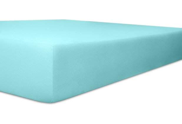 """Kneer Spannbetttuch Exclusive-Stretch \""""Qualität 93\"""" Farbe 67 türkis 120-130 cm x 200-220 cm"""