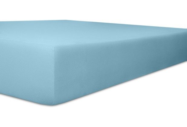 "Kneer Vario-Stretch \""Qualität 22\"" Farbe 36 blau Topperbezug 200/220/4-12cm 80cm Einschnitt"