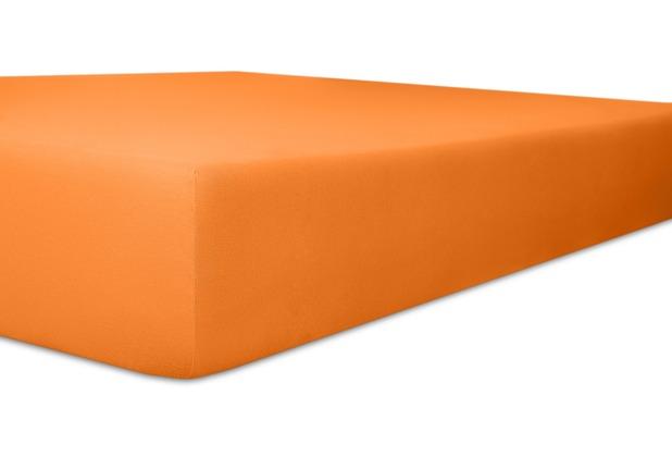 """Kneer Vario-Stretch \""""Qualität 22\"""" Farbe 65 orange Topperbezug 200/220/4-12cm 80cm Einschnitt"""