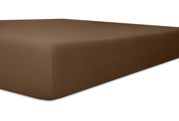 """Kneer Vario-Stretch \""""Qualität 22\"""" Farbe 79 mocca Spannbetttuch 120-130 cm x 200-220 cm"""