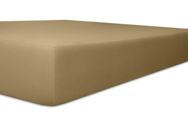 "Kneer Vario-Stretch \""Qualität 22\"" Farbe 88 toffee Topperbezug 200/220/4-12cm 80cm Einschnitt"