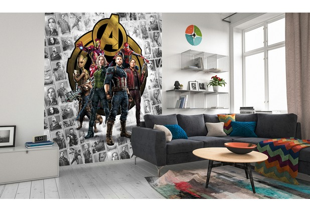 "Komar Digitaldruck Vliestapete \""Avengers Infinity War- Pattern Box\"" 200 x 250 cm"