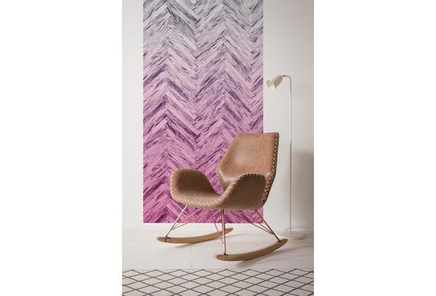 "Komar Digitaldruck Vliestapete \""Herringbone Pink Panel\"" 100 x 250 cm"