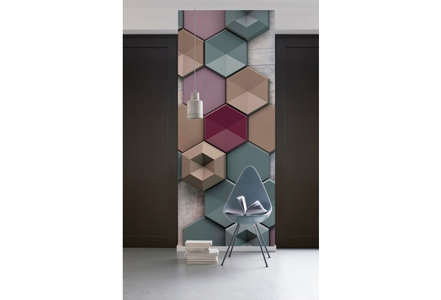"Komar Digitaldruck Vliestapete ""Hexagon\"" 100 x 280 cm"
