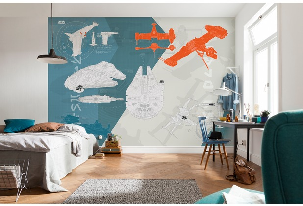 "Komar Fototapete \""Star Wars - Technical Plan\"" blau/weiß/orange"