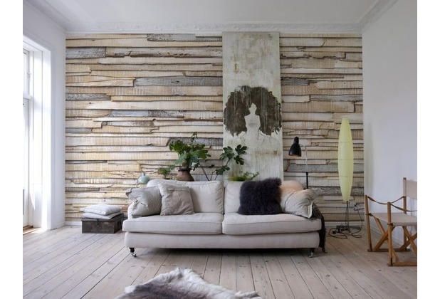Komar Fototapete Whitewashed Wood 368 x 254 cm