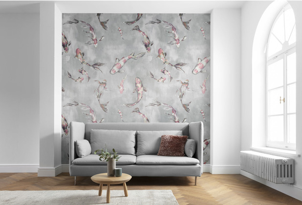 Komar RAW Koi rosa, schwarz, silber 300 x 280 cm