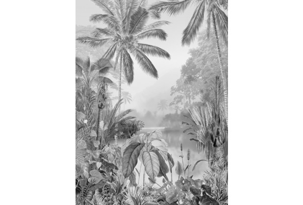 Komar RAW Lac Tropical Black & White schwarz, weiß 200 x 270 cm