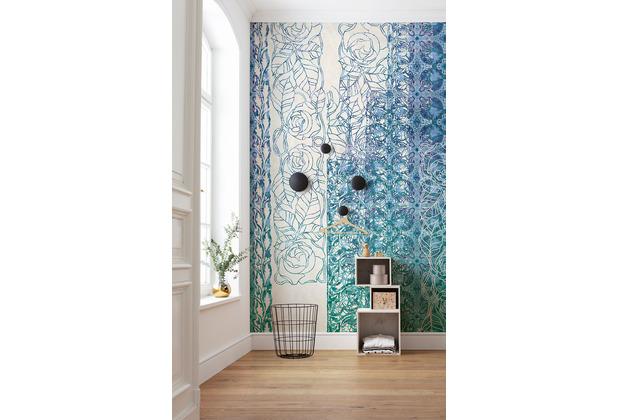 """Komar Vlies Fototapete \""""Art Nouveau Bleu\"""" 250 x 280 cm"""