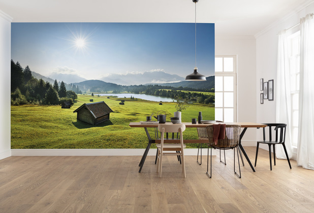 """Komar Vlies Fototapete \""""Bergwiese vor Karwendel\"""" 450 x 280 cm"""