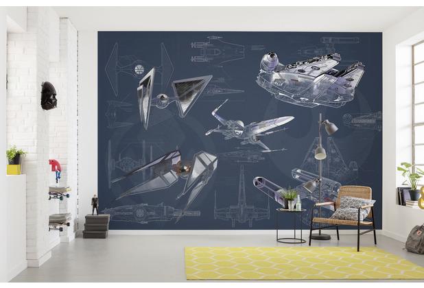 Komar Vlies Fototapete Star Wars Blueprint Dark 400 x 280 cm