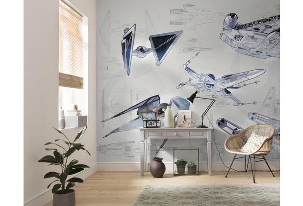 Komar Vlies Fototapete Star Wars Blueprint Light 400 x 280 cm