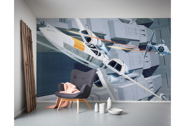 "Komar Vlies Fototapete ""Star Wars Classic RMQ X-Wing vs TIE-Fighter\"" 500 x 250 cm"