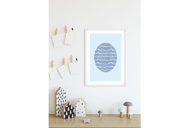 Komar Wandbild Shelly Patterns Blue 30 x 40 cm