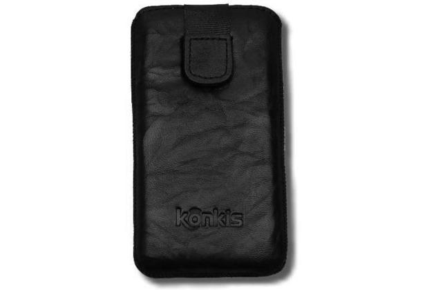 Konkis Echtleder-Etui für iPhone 5/5S/SE, washed schwarz